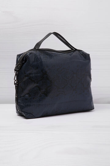 Snakeskin look shoulder bag, Blue, hi-res