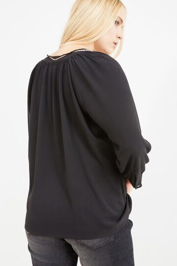 Blusa stretch con nappine Curvy, Nero, hi-res