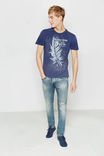 Cotton T-shirt with maxi print, Blue, hi-res