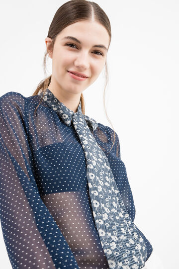 Semi-sheer blouse with polka dot print, Blue, hi-res