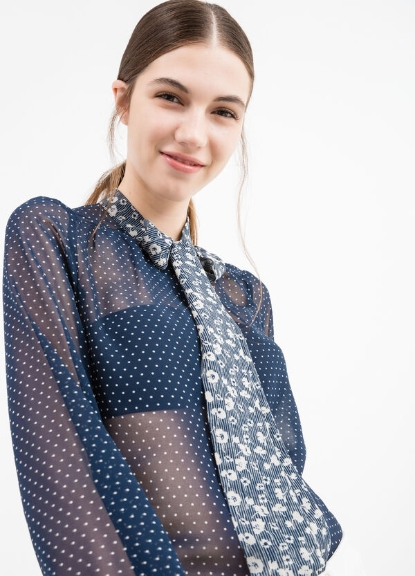 Semi-sheer blouse with polka dot print | OVS