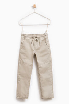 Cotton trousers with elasticated waistband, Beige, hi-res