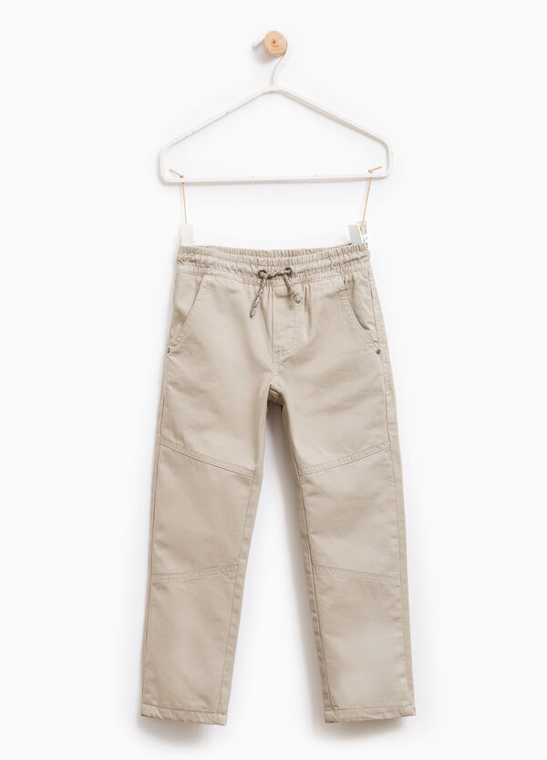 Cotton trousers with elasticated waistband | OVS