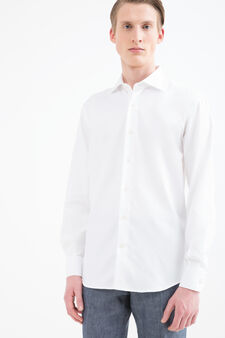 Solid colour regular-fit shirt, White, hi-res