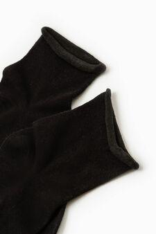 Solid colour cotton short socks, Black, hi-res