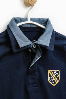 Polo shirt with double collar in 100% cotton., Dark Blue, hi-res