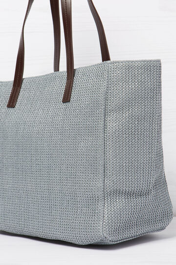 Woven shoulder bag, Grey, hi-res