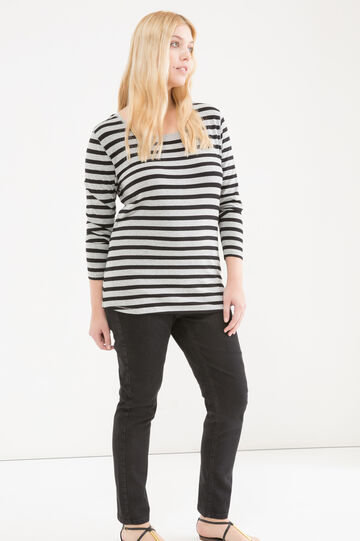 Curvy striped T-shirt in stretch viscose, Black/Grey, hi-res