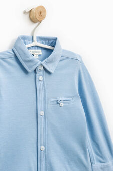 100% cotton shirt with pocket, Light Blue, hi-res