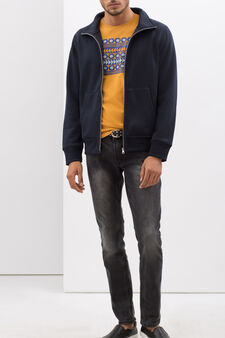 Plain sweatshirt with zip, Dark Blue, hi-res