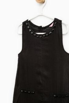 Sleeveless playsuit with diamanté motif, Black, hi-res