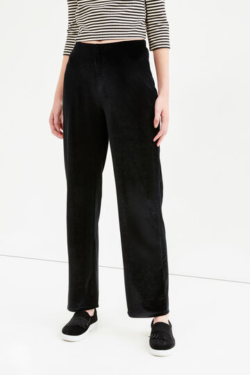Stretch velvet trousers with high waist, Black, hi-res