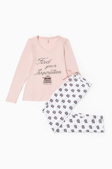100% cotton pyjamas with glitter print, Pink, hi-res