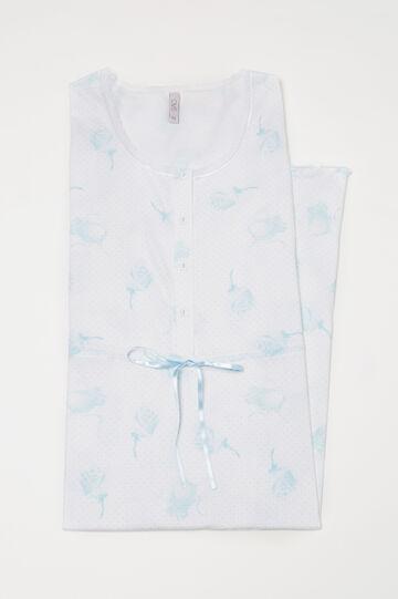 Polka dot cotton nightshirt, White/Light Blue, hi-res