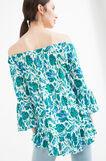 100% viscose floral patterned T-shirt, Blue/Green, hi-res