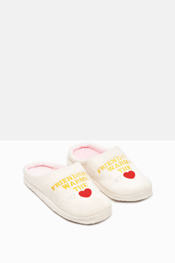 Diamanté and embroidered lettering slippers, Light Pink, hi-res