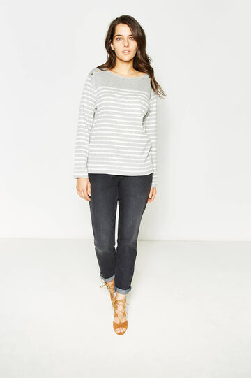 Curvy striped pullover with studs