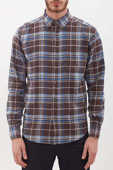 100% cotton shirt with button down collar., Blue/Brown, hi-res