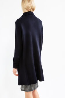 Solid colour knit cardigan with lapels, Navy Blue, hi-res
