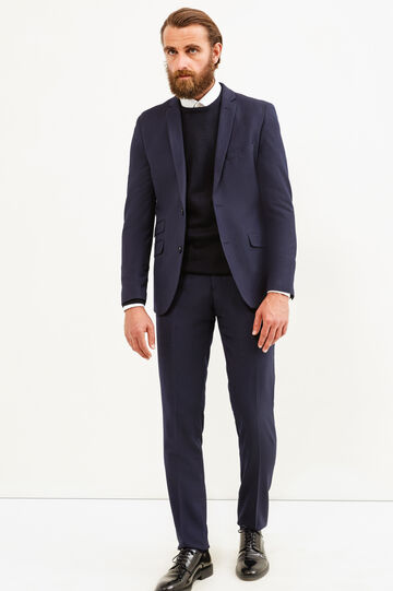 Elegant, custom-fit suit with micro pattern, Dark Blue, hi-res