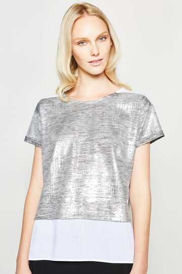 Glossy T-shirt with faux layering