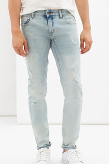 Used-effect skinny fit, stretch jeans, Light Blue, hi-res