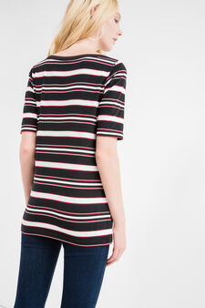 T-shirt lunga a righe scollo barchetta, Nero/Rosso, hi-res