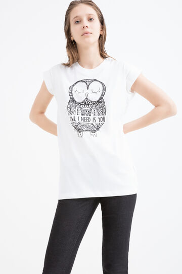 T-shirt puro cotone stampa gufo, Bianco, hi-res