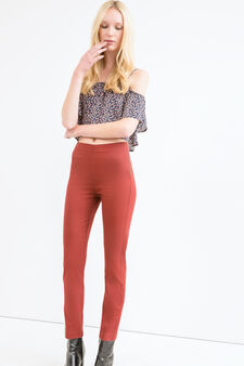 Solid colour stretch trousers, Brick Red, hi-res