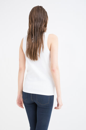 100% cotton top with snap-button fastening, White, hi-res