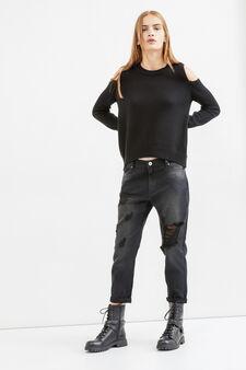 Worn-effect boyfriend jeans with rips, Black, hi-res