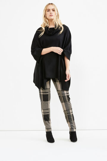 Curvy solid colour knit poncho, Black, hi-res