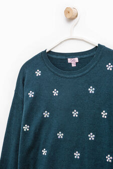 Pullover with diamantés and side slits, Teal Green, hi-res