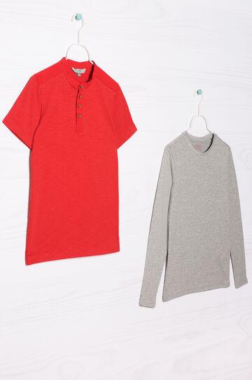 Completo due t-shirt puro cotone, Grigio/Rosso, hi-res