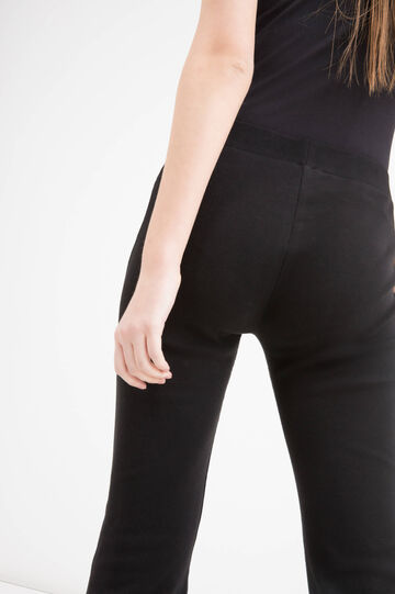 Pantaloni a zampa cotone stretch, Nero, hi-res
