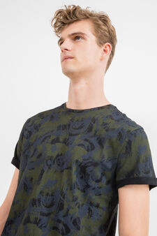 100% cotton T-shirt with all-over print, Army Green, hi-res