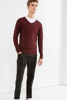 Slim fit, stretch cotton trousers, Black, hi-res