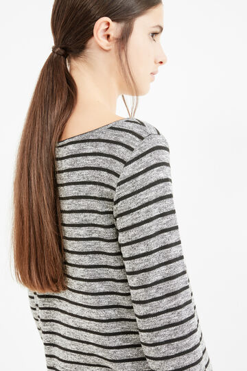 Long sleeved T-shirt with striped pattern, White/Black, hi-res