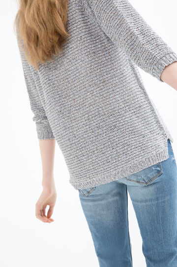 Solid colour knitted pullover, Denim, hi-res