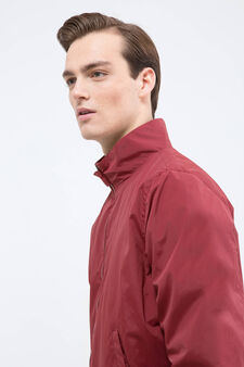 Solid colour jacket with high neck., Claret Red, hi-res