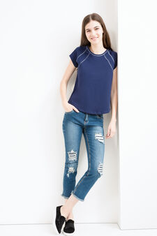 100% cotton T-shirt with rounded hem, Dark Blue, hi-res