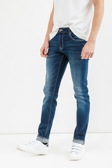 Skinny fit jeans with stitching in contrasting colour, Dark Wash, hi-res