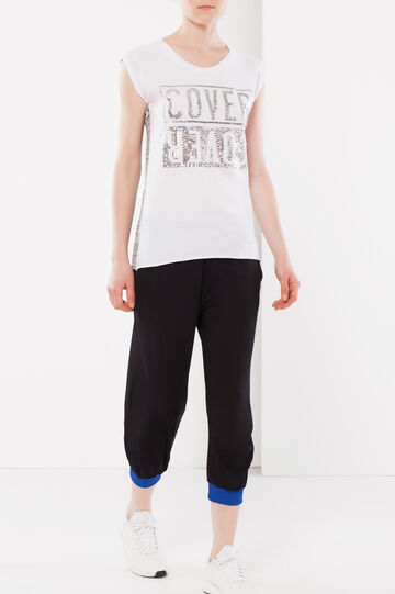 Sequinned T-shirt, White, hi-res