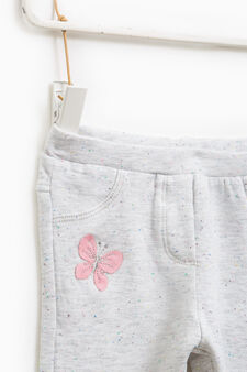 Gym pants with patches and embroidery, Grey, hi-res