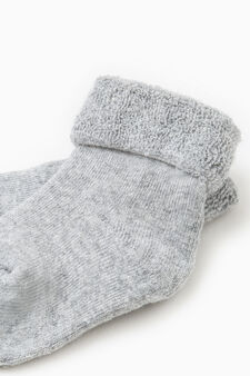 Two-pair pack solid colour and striped socks in cotton, Blue/Grey, hi-res
