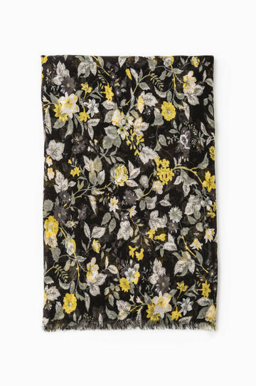 Floral print scarf, Black/Yellow, hi-res