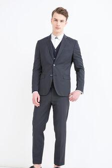 Elegant pinstripe suit in wool, Blue, hi-res