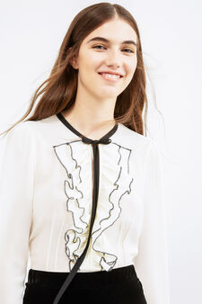 Solid colour blouse with lace and flounces, White, hi-res