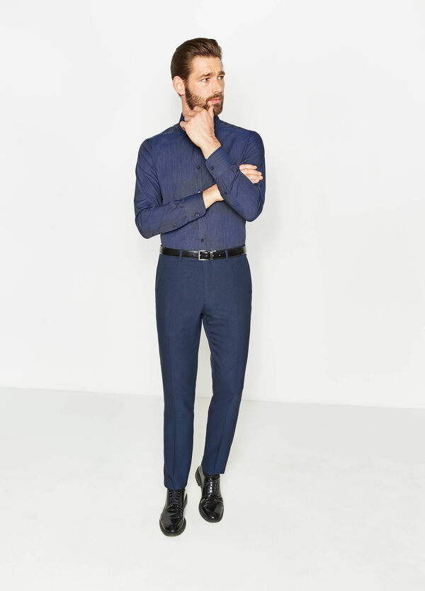 Striped cotton slim-fit formal shirt | OVS