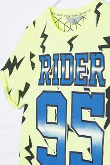 Maxi print T-shirt in 100% cotton, Acid Yellow, hi-res